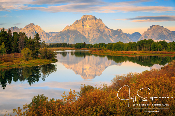 Mt. Moran Fall sunrise from Oxbox Bend, Grand Teton National Park
